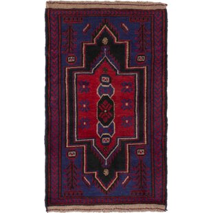 Best Choices One-of-a-Kind Charity Hand-Knotted 2'9 x 4'7 Wool Blue/Burgundy Area Rug ByMillwood Pines