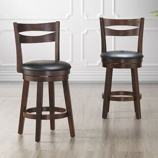 Sherryl Wood/Faux Leather 26 Swivel Bar Stool (Set of 2) Wrought Studio