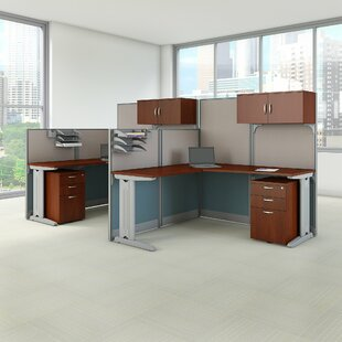 Bush Business Furniture 2 Person Cubicle Workstations 6 Piece L-Shape Desk Office Suite