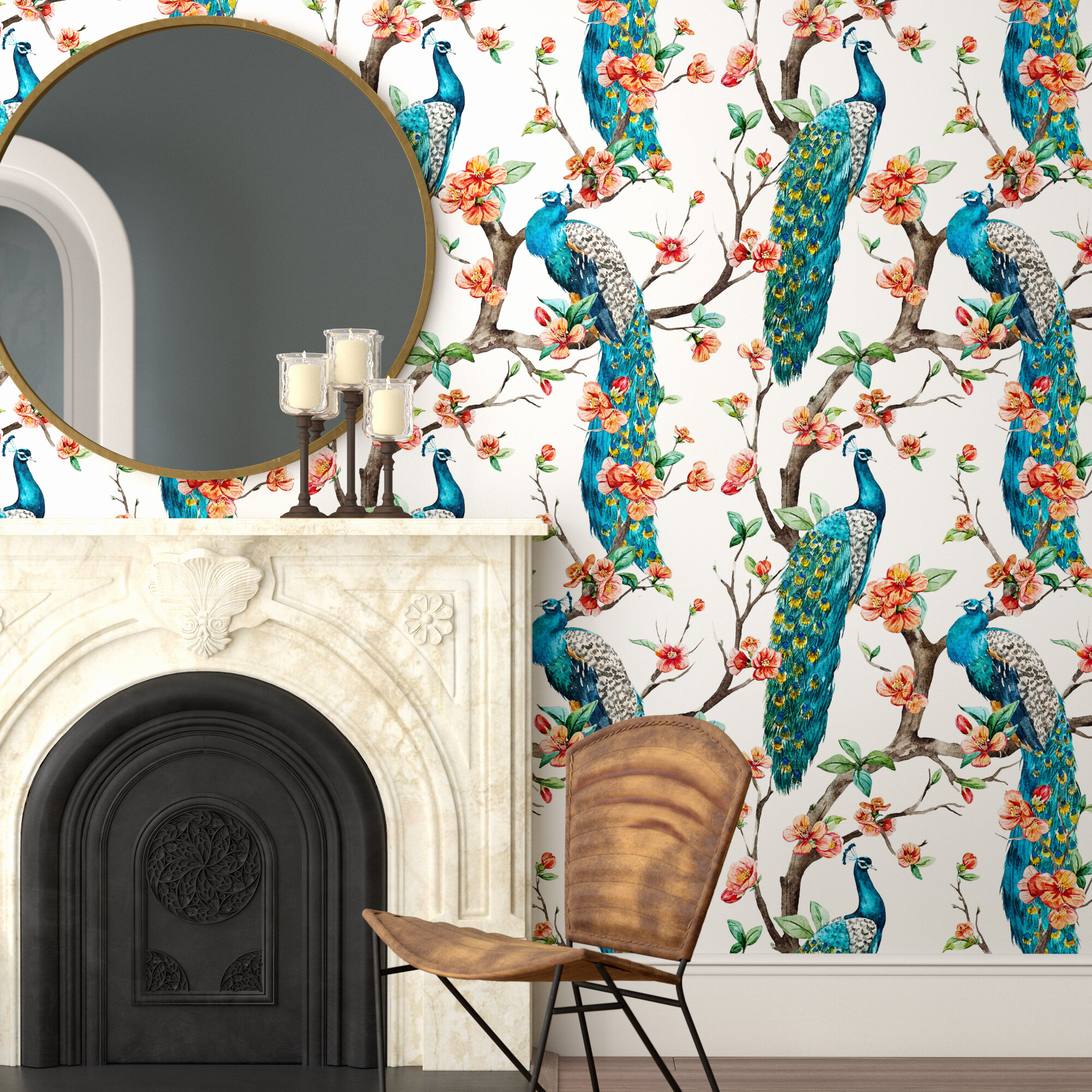 Bungalow Rose Longbridge Removable Peacock 8 33 L X 25 W Peel And Stick Wallpaper Roll Wayfair