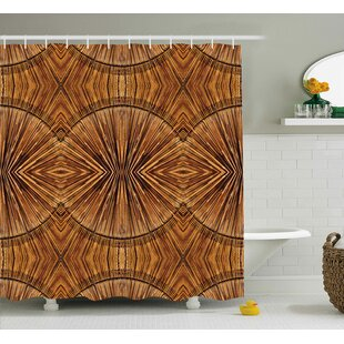 Archway Eastern Bamboo Pattern Shower Curtain + Hooks
