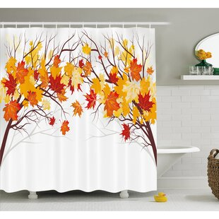 Fall Image of Canadian Maple Leaves with Soft Reflection Effects Shower Curtain Set By Ambesonne