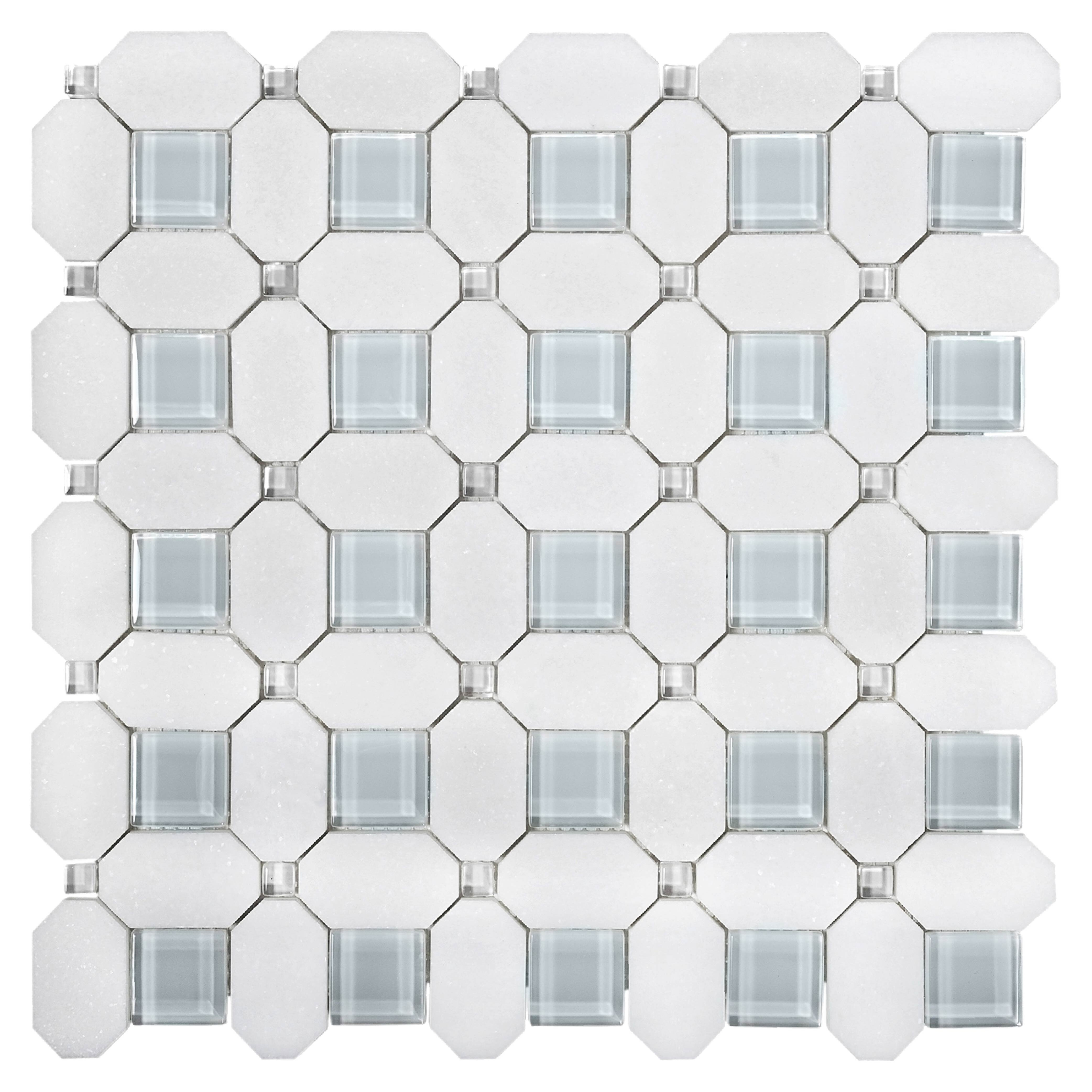 Apollo Tile White And Blue Marble Mosaic Tile 12 2 X 12 2 Sheet For Kitchen Bathroom Wall Panel Or Flooring 5 Pack Wayfair