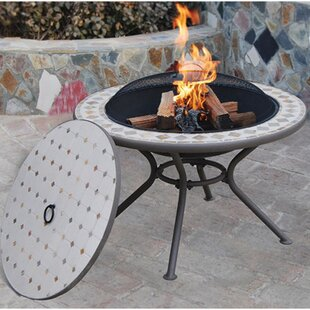 Deeco Milano Steel Wood Burning Fire Pit Table