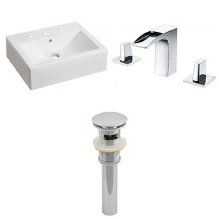 Inexpensive Ceramic Rectangular Bathroom Sink with Faucet and Overflow ByAmerican Imaginations