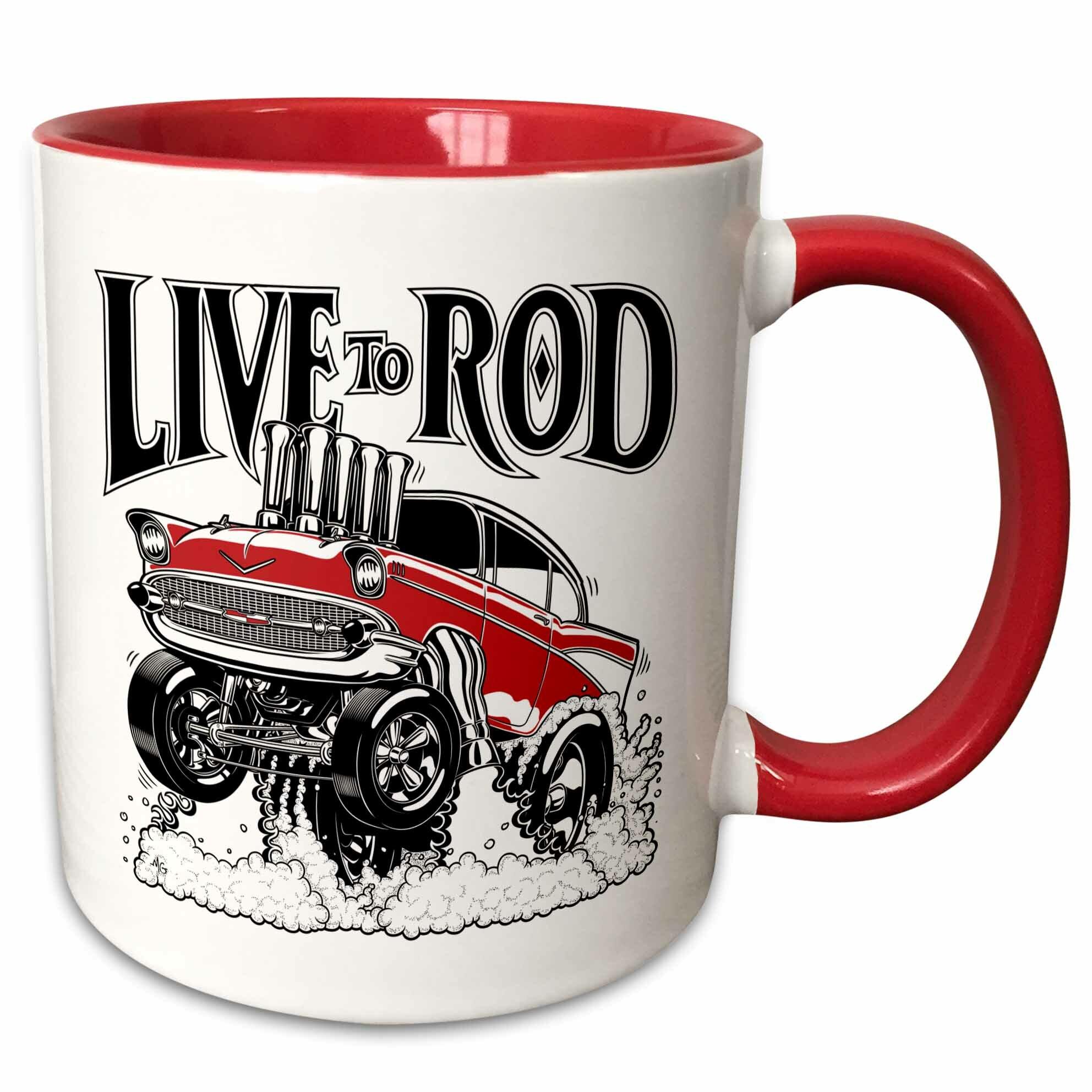 Symple Stuff Monroe Street A 1957 Street Rod Riding A Wheelie And Shooting Fire Live To Rod Logo Coffee Mug Wayfair