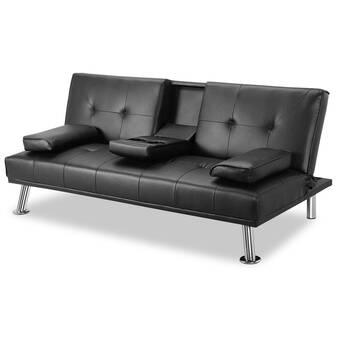 Ebern Designs Sukias Twin Or Smaller Tufted Back Convertible Sofa Wayfair