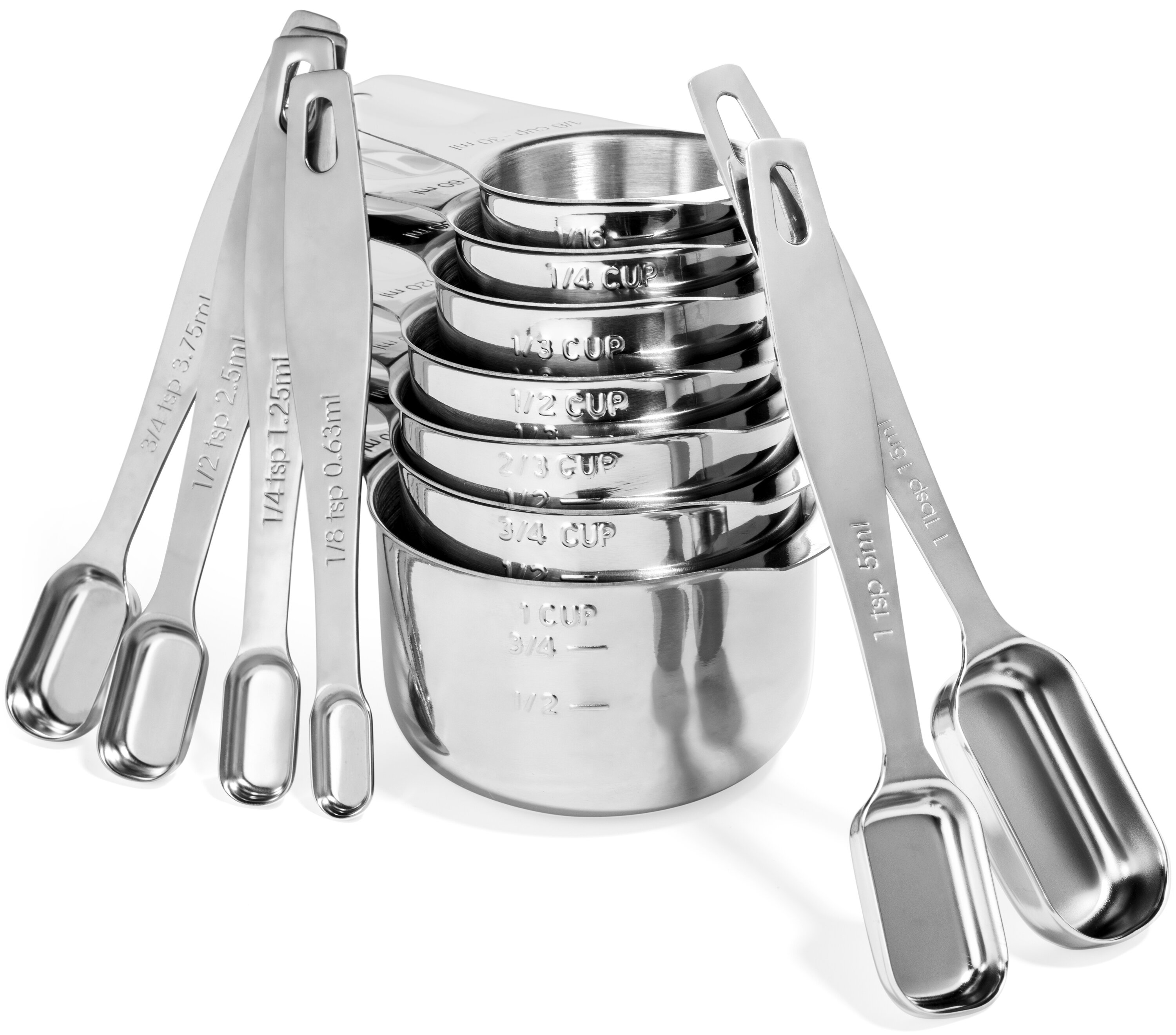 Stainless Steel Measuring Cups /& Spoons 10 Pieces Set 5 Cups /& 5 Spoons US