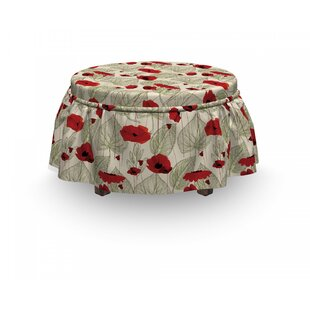 Poppy Sketch Leaves Rural Flora 2 Piece Box Cushion Ottoman Slipcover Set By East Urban Home