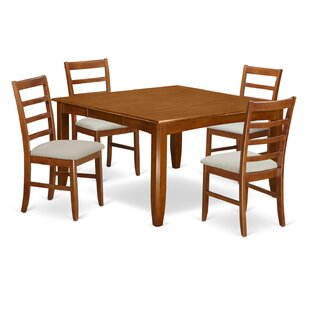 Parnassus 5 Piece Extendable Solid Wood Dining Set August Grove