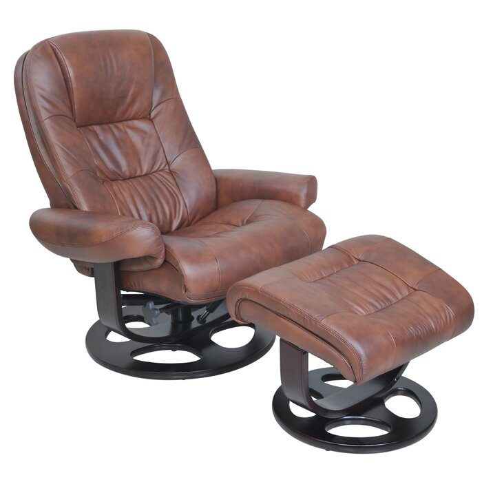 Superb Ranck Leather Manual Swivel Recliner With Ottoman Ibusinesslaw Wood Chair Design Ideas Ibusinesslaworg