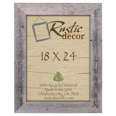 "Rustic Decor Barn Wood Reclaimed Wood Extra Wide Wall Picture Frame Picture Size: 18"" x 24"""