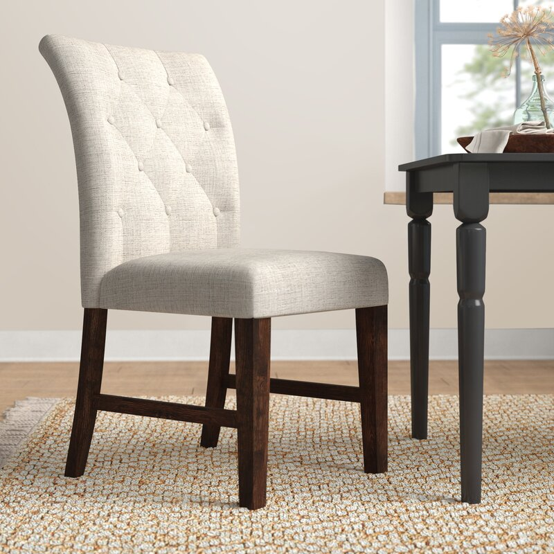 Calila Tufted Upholstered Side Chair In Linen Oatmeal Reviews Birch Lane