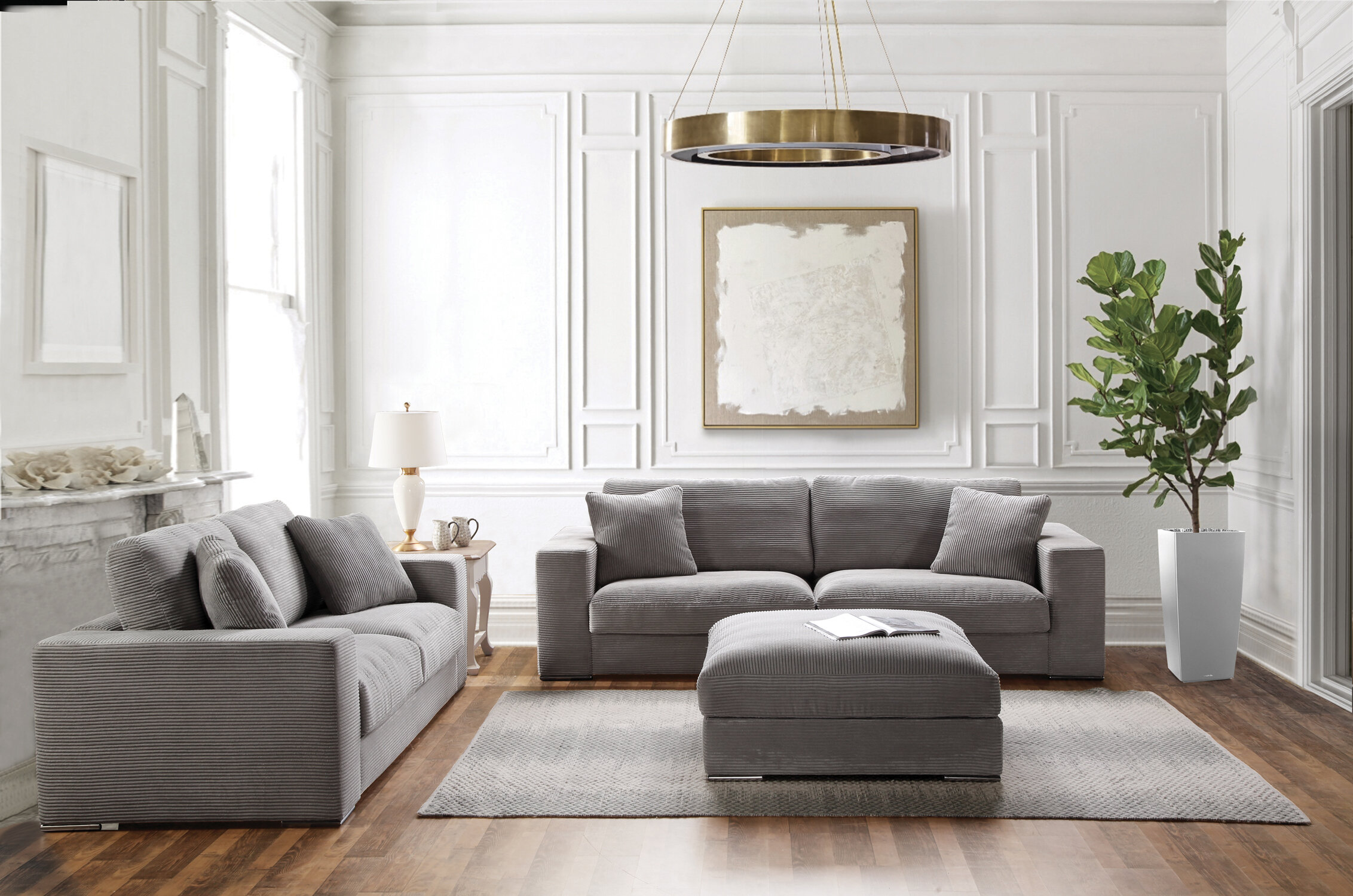 Acanva Classic Modern Corduroy 3 Piece Living Room Set