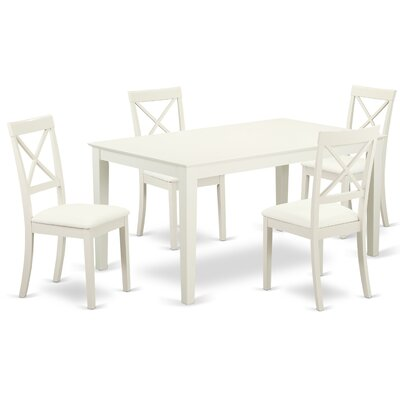Smyrna 5 Piece Dining Set Charlton Home Color: Linen White