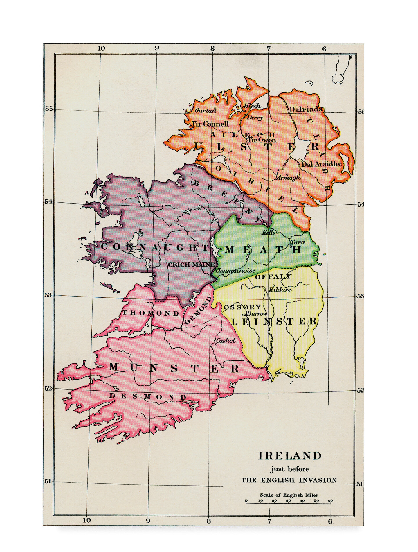 Map Of Ireland Drawing.Charlton Home Map Of Ireland 1588 To 1610 Drawing Print On