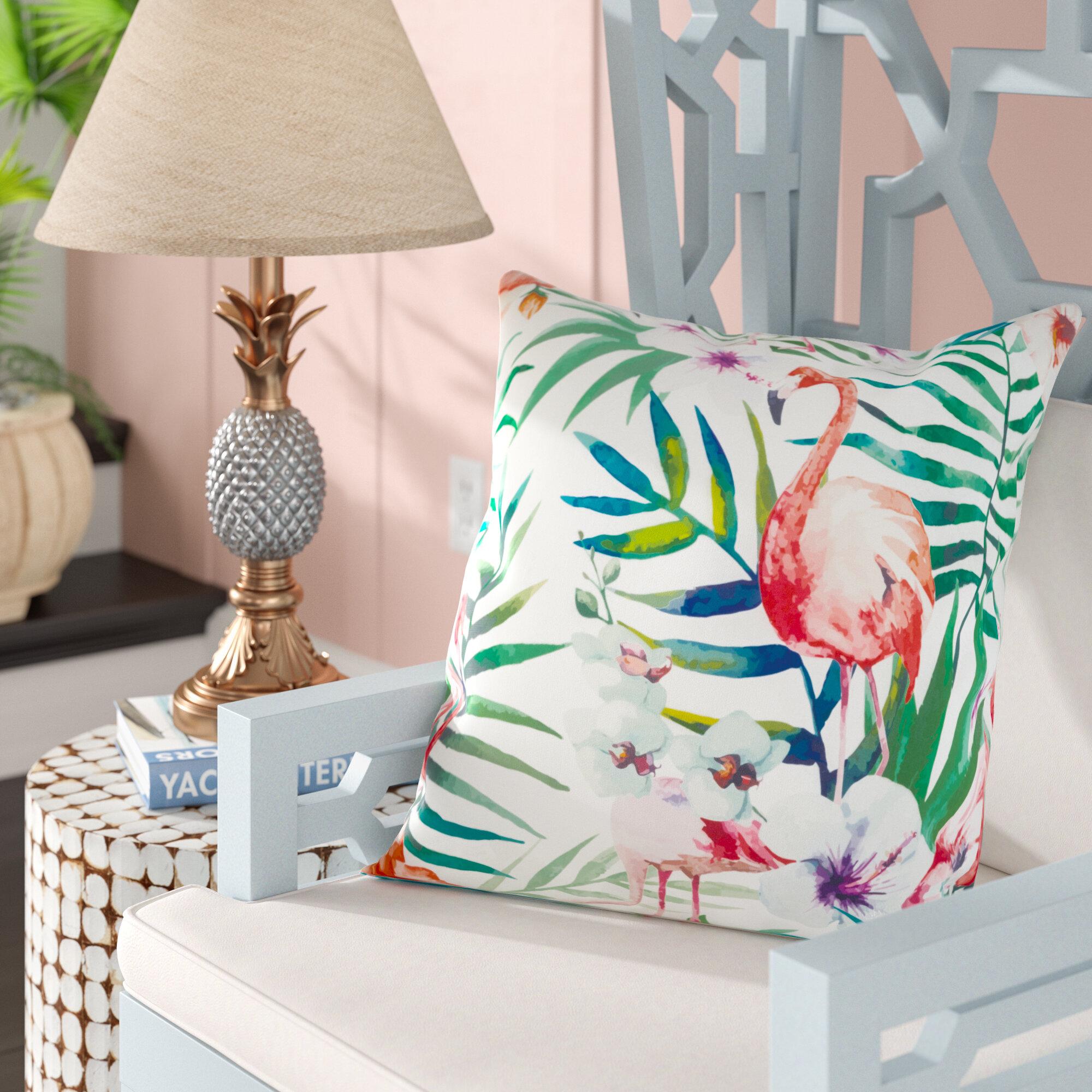 Bay Isle Home Sherwick Tropical Flamingo Indoor Outdoor Throw Pillow