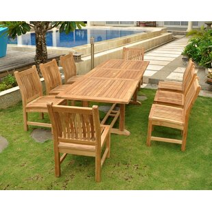 Rosecliff Heights Farnam 9 Piece Teak Wood Dining Set