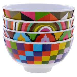 Multi Melamine 4 Piece Rice Bowl Set