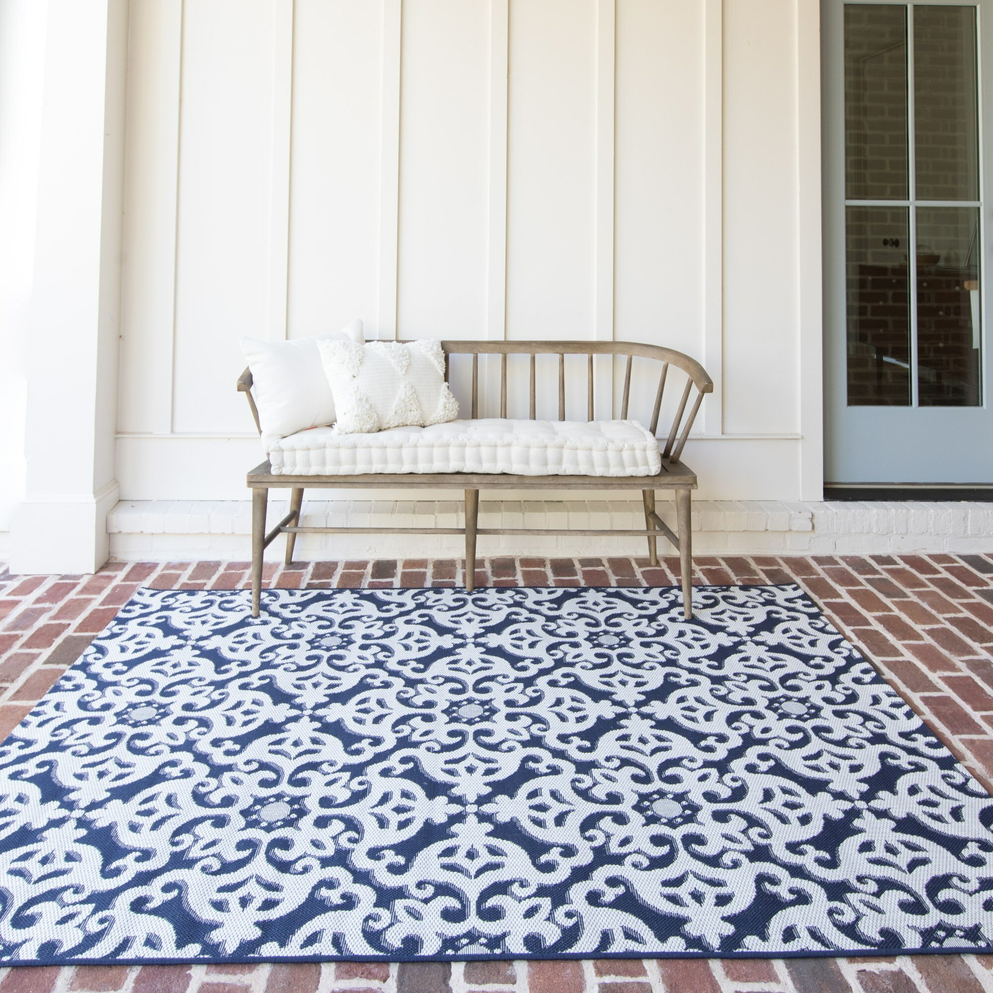 Shackelford Patio Navy Blue Indoor/Outdoor Area Rug