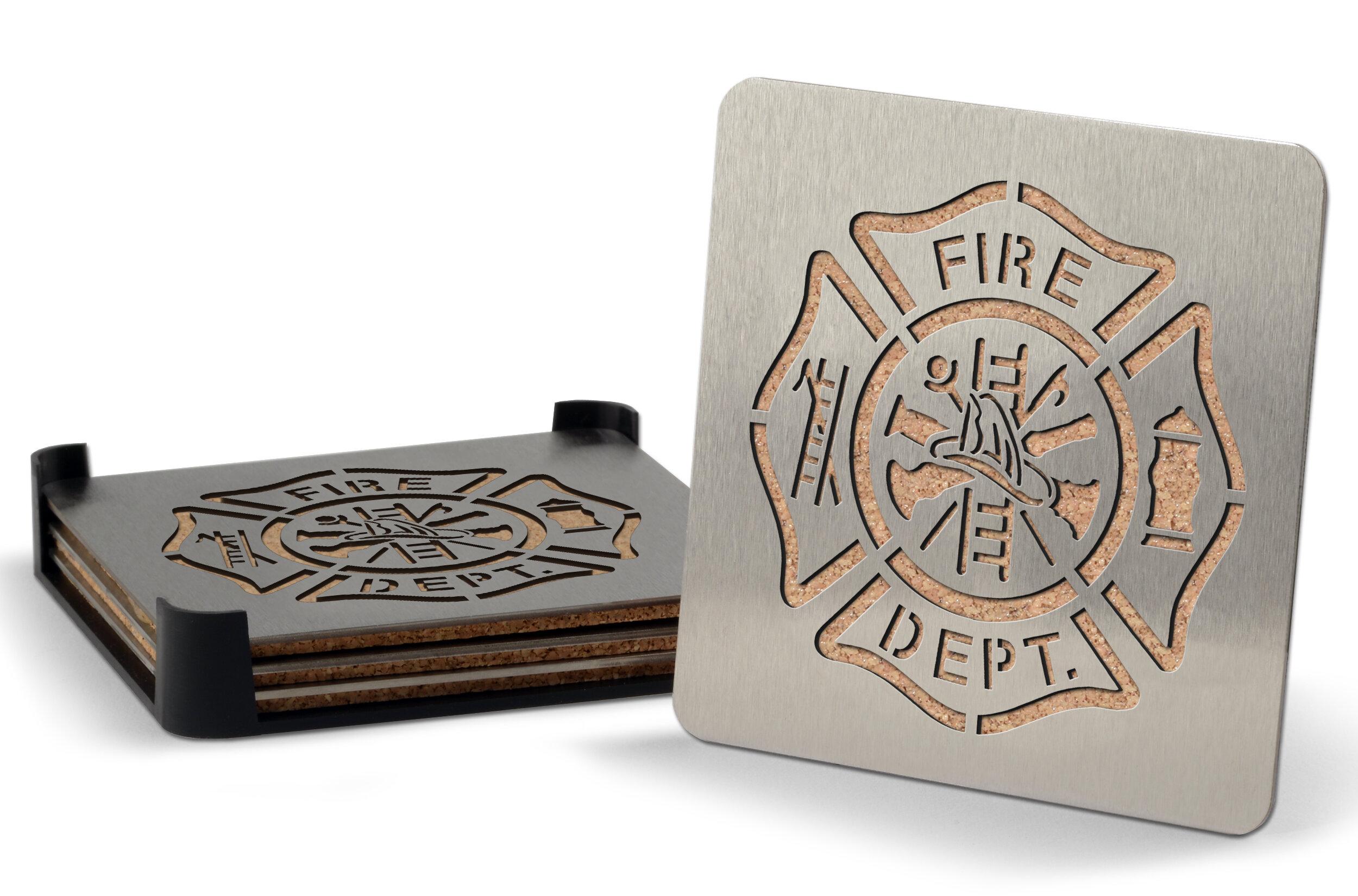 Winston Porter Firefighter 5 Piece Coaster Set With Holder Wayfair