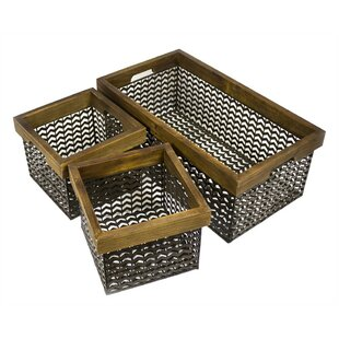 Spacious 3 Piece Metal/Wire Basket Set By 17 Stories