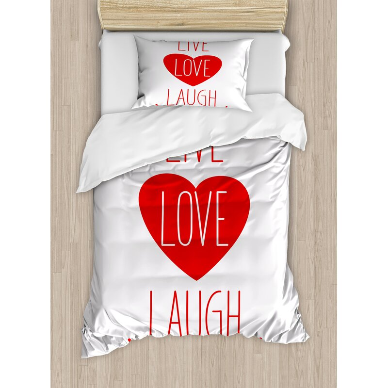 Live Laugh Love Way of Life Style Heart Icon with Smiling Form and Phrase  Artsy Design Duvet Cover Set