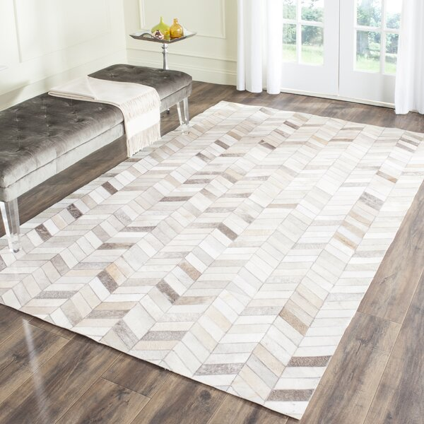 Union Rustic Heilman Handwoven Wool Cowhide Gray Ivory Area Rug Reviews Wayfair