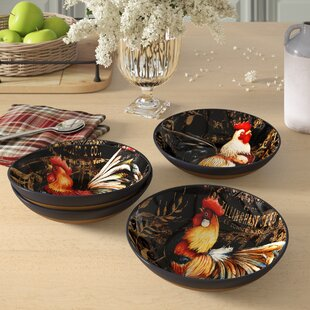Frisina 4 Piece Gilded Rooster Pasta Bowl Set
