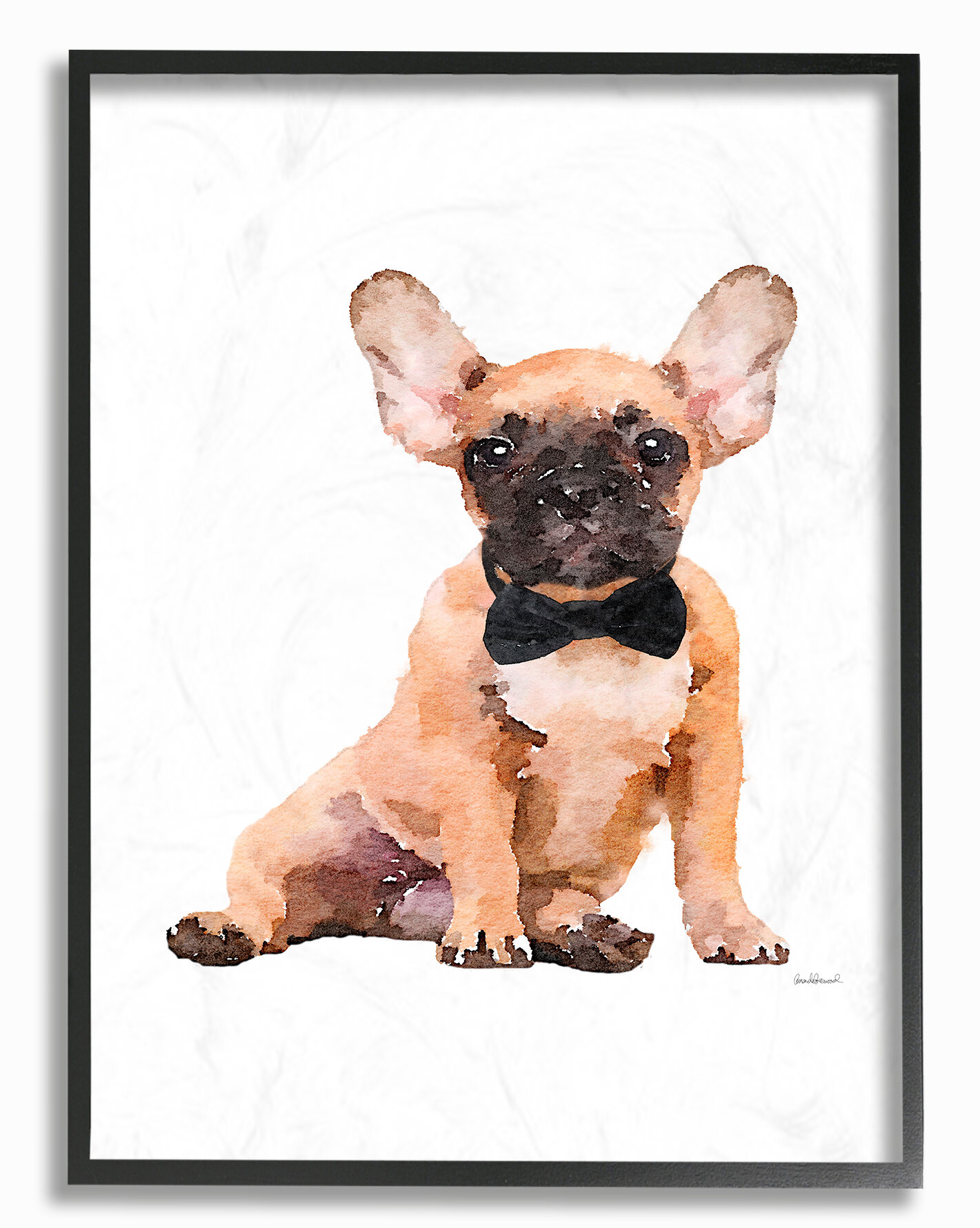 Winston Porter Frenchie Puppy With A Bow Tie Print