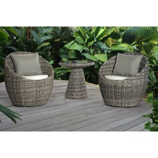 Bay Isle Home Carsten 3 Piece Conversation Set with Cushions