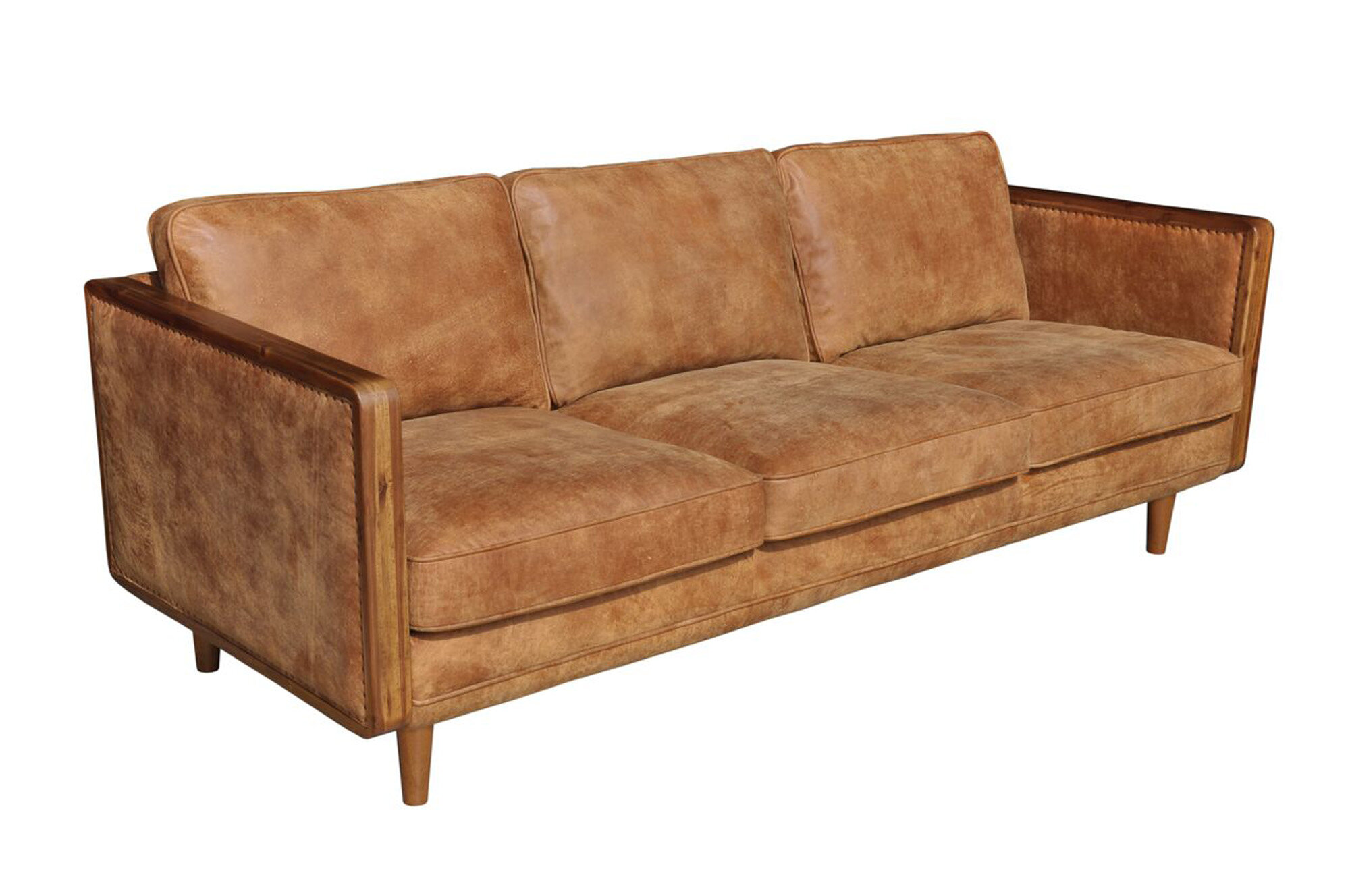 Union Rustic Lang Genuine Leather 82 Square Arm Sofa Reviews Wayfair