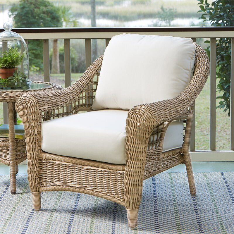 Lynwood Wicker Chair With Sunbrella Cushions With Sunbrella Cushions.