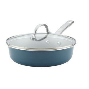 Porcelain Enamel 3 qt. Non-Stick Saute Pan with Lid