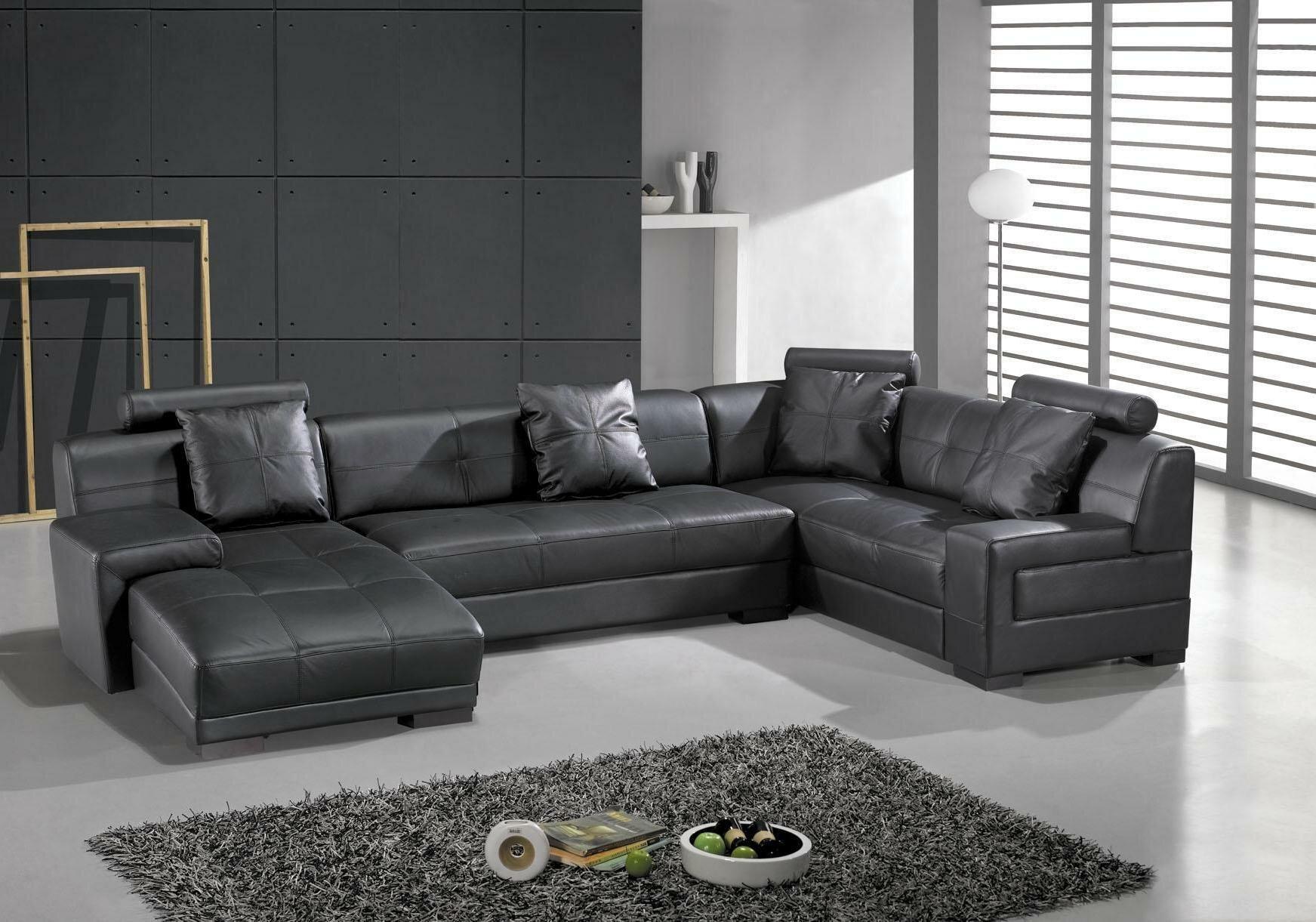 Superieur Hokku Designs Houston Leather Sectional U0026 Reviews | Wayfair