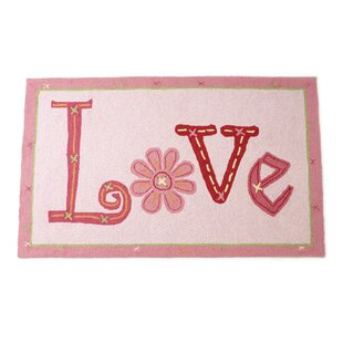 Love Hand Hooked Wool Pink Area Rug By The Little Acorn