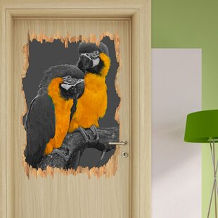 Loving Pair Of Parrots On A Branch Wall Sticker By East Urban Home