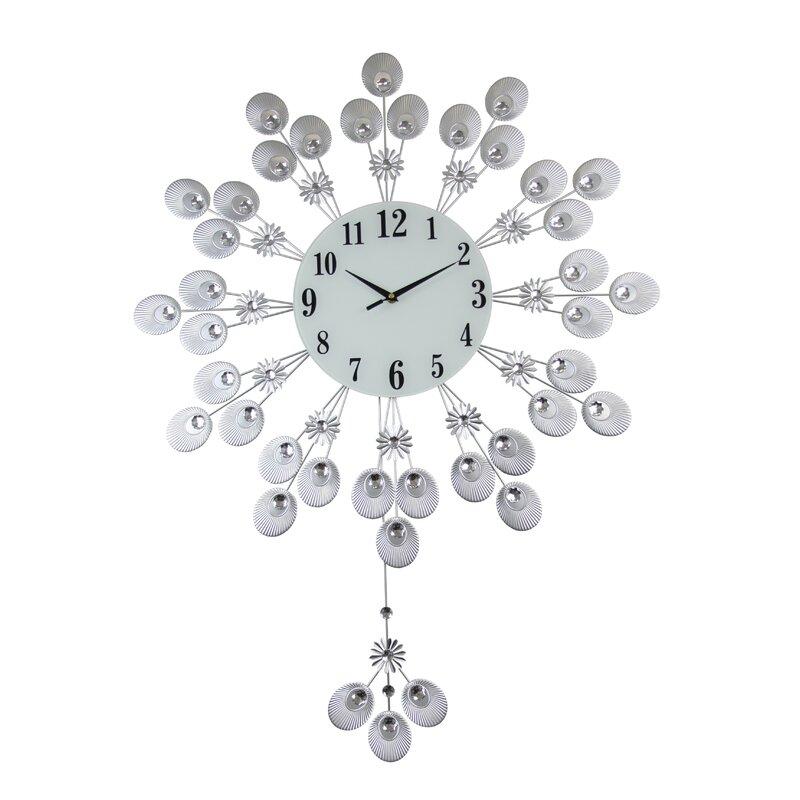 Three Star Elegant Silver Peacock Pendulum Wall Clock Reviews