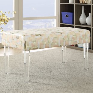 House of Hampton Hofstade Sequin Colorblock Upholstered Bench with Acrylic Leg
