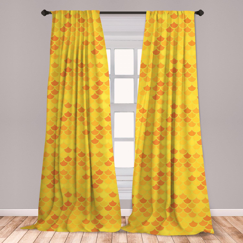 East Urban Home Fish Scale Geometric Room Darkening Rod Pocket Curtain Panels Wayfair