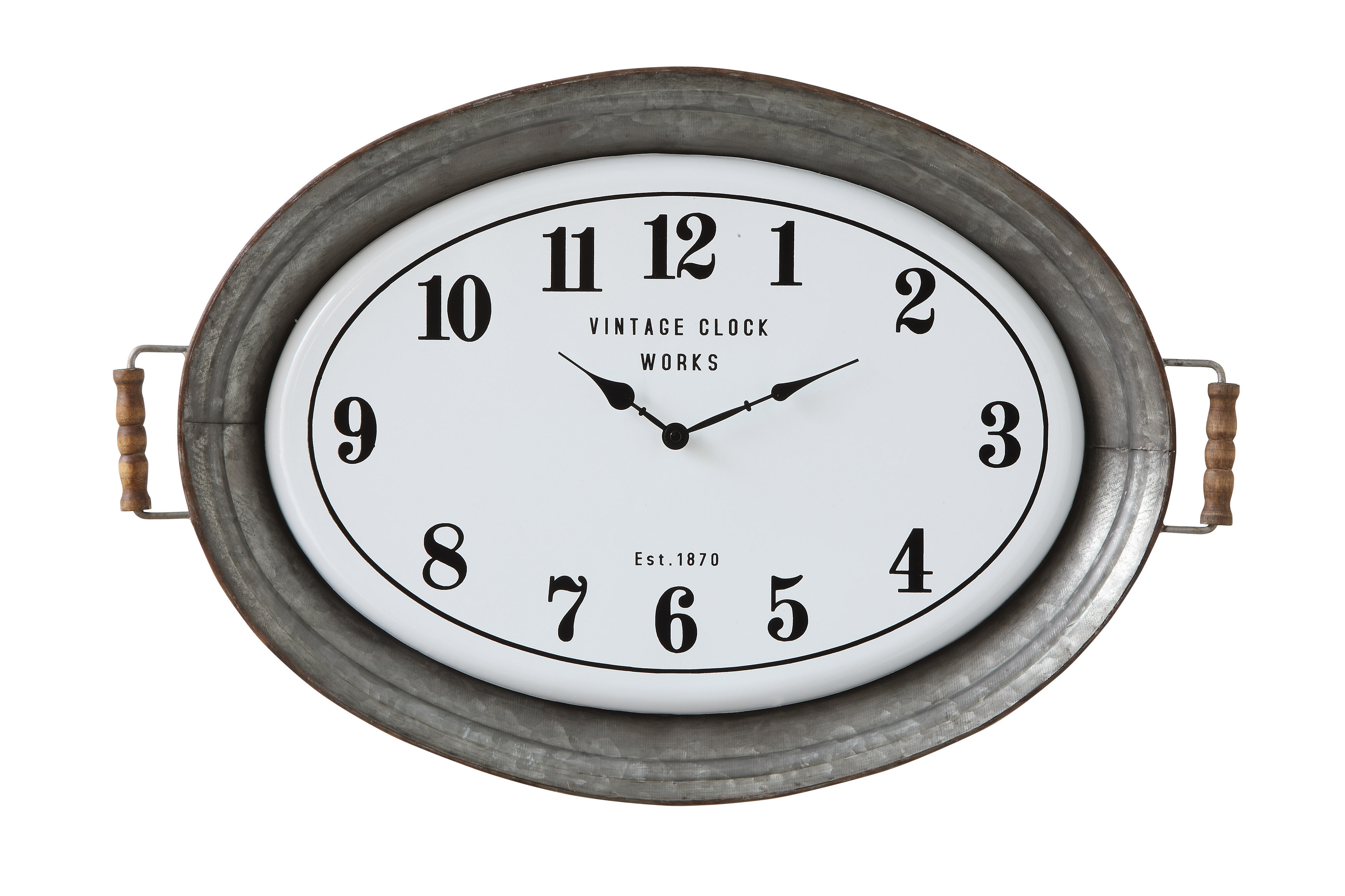 Gracie oaks stef oval metal wall clock with serving tray design wayfair