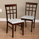 Justin Upholstered Slat Back Side Chair in Brown (Set of 8) by Warehouse of Tiffany
