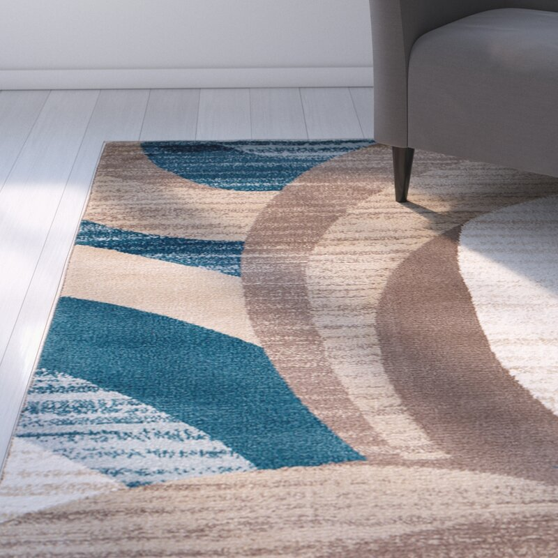 Rick Blue Brown Area Rug