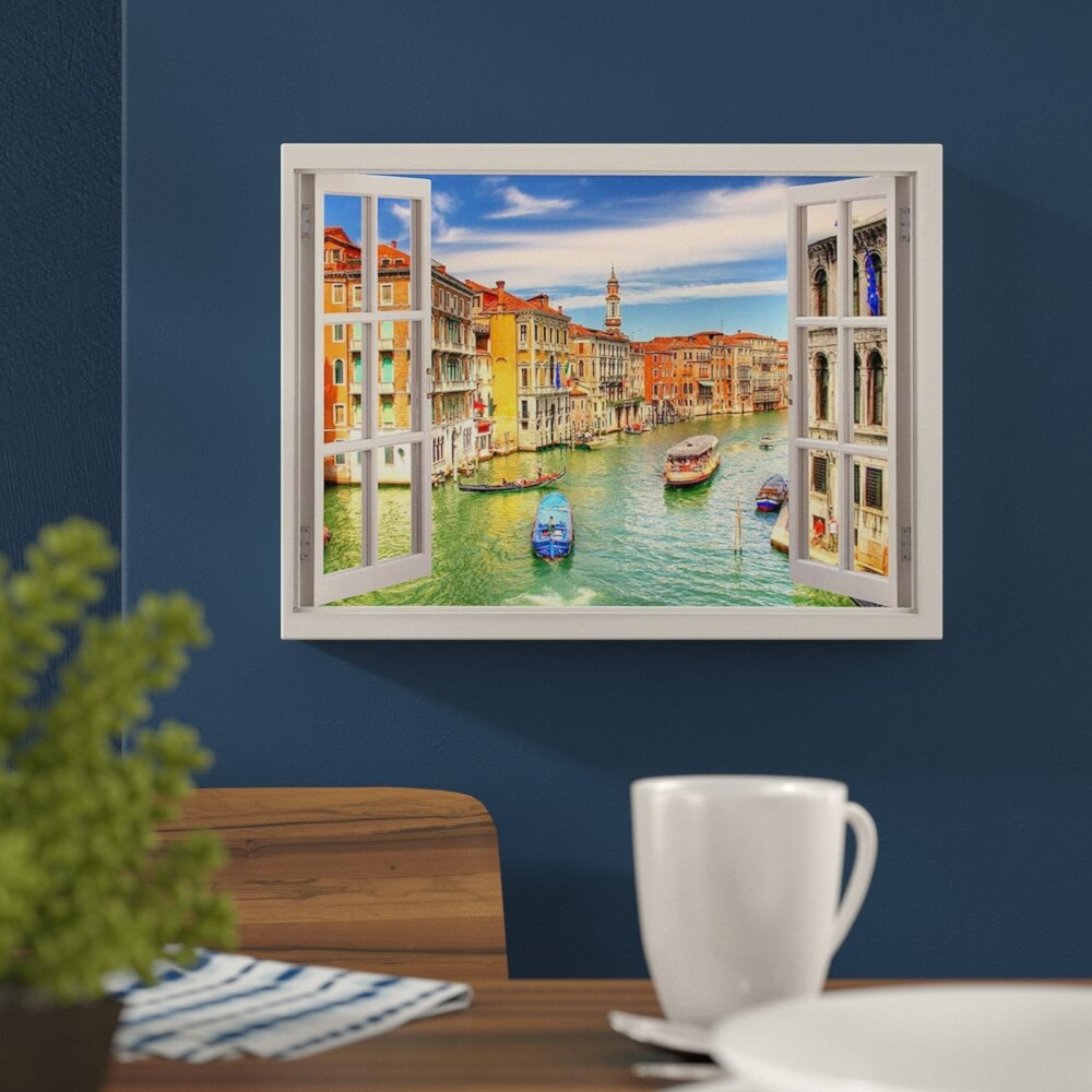 East Urban Home Grand Canal Venice 3d Window Effect Photographic Print On Wrapped Canvas Reviews Wayfair Co Uk