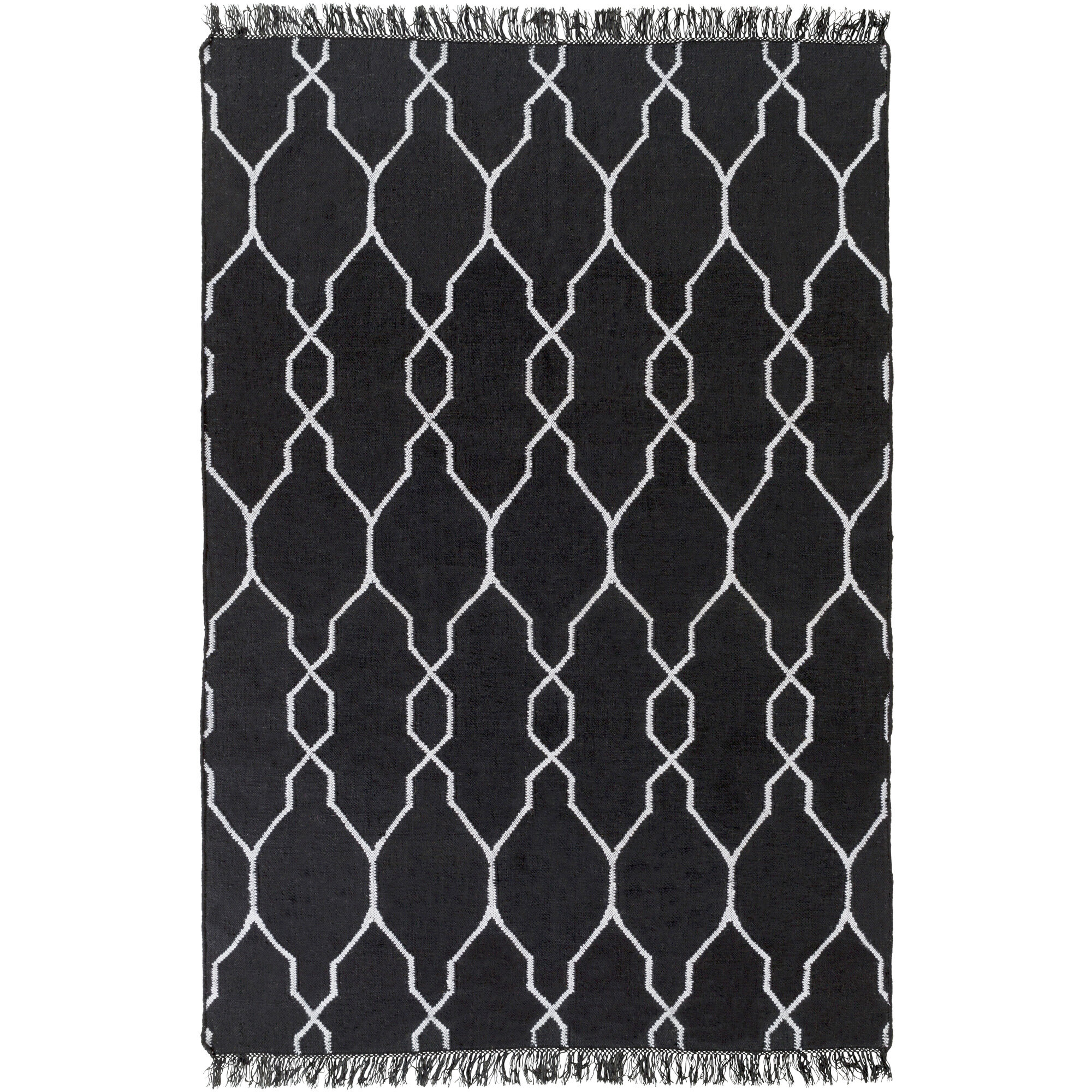 Charlton Home Larksville Geometric Handwoven Black Indoor Outdoor Area Rug Wayfair Ca