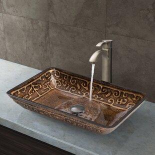 Greek Glass Rectangular Vessel Bathroom Sink with Faucet