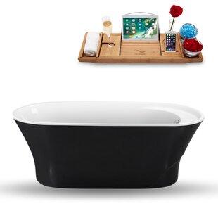 59 x 28 Freestanding Soaking Bathtub with Tray by Streamline Bath