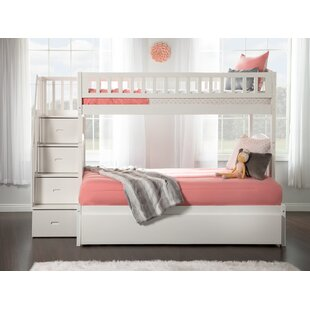 Salem Staircase Twin Over Full Bunk Bed with Shelves