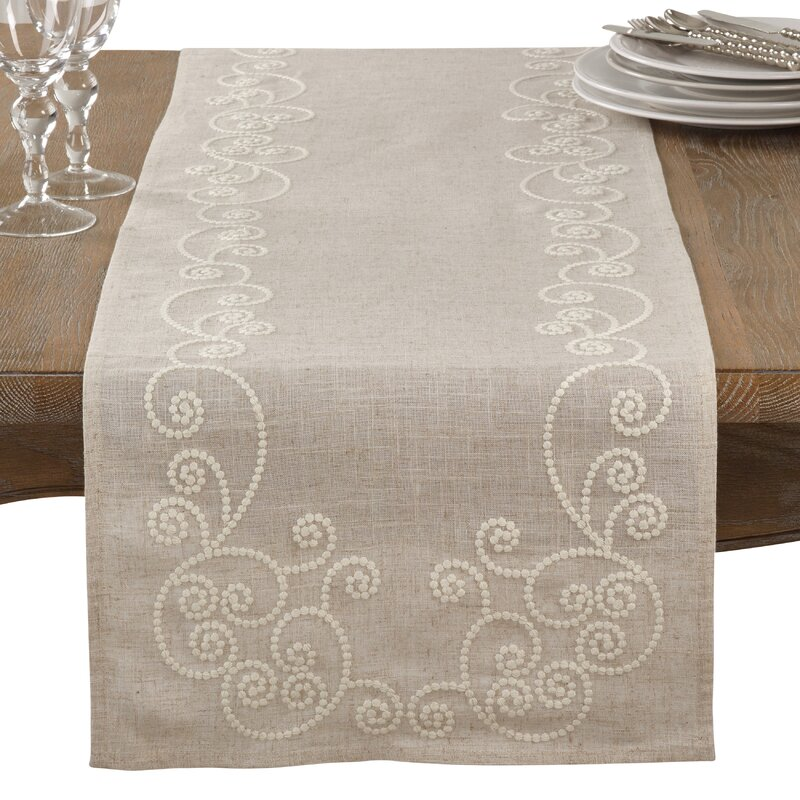 Perfect Arik Embroidered Swirl Casual Linen Blend Table Runner