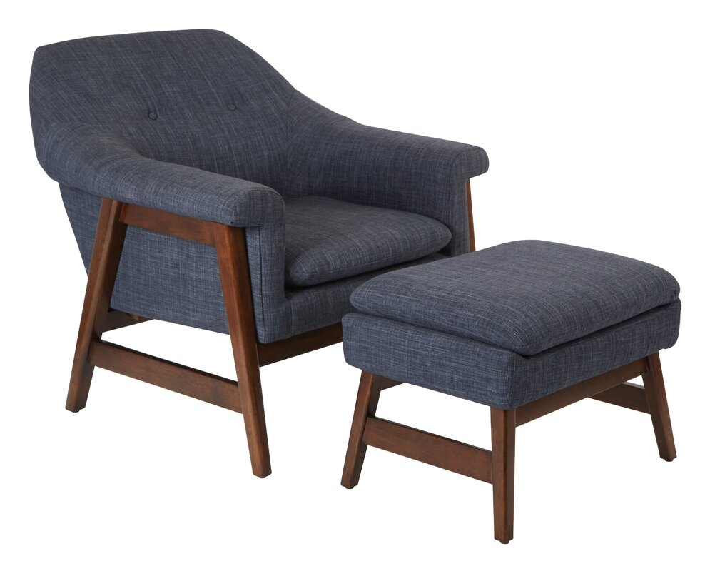 modern accent chairs  allmodern - hankerson lounge chair and ottoman